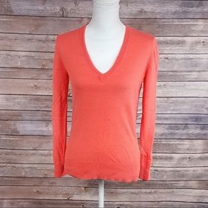 J Crew Factory Coral V Neck Sweater